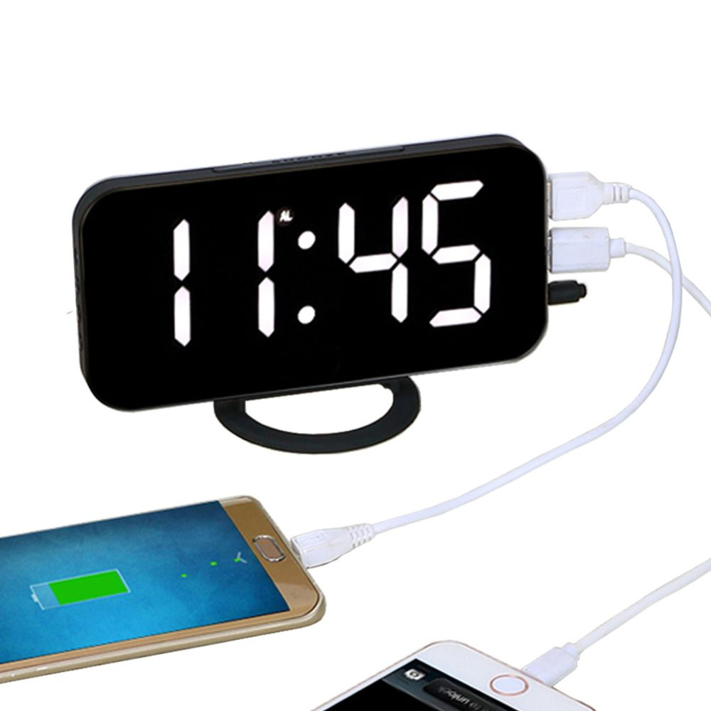 EAAGD Electronic LED Digital Desktop Decoration Alarm Clock with Dual USB Port for Phone, Automatically Adjust the <font><b>Brightness</b></font>