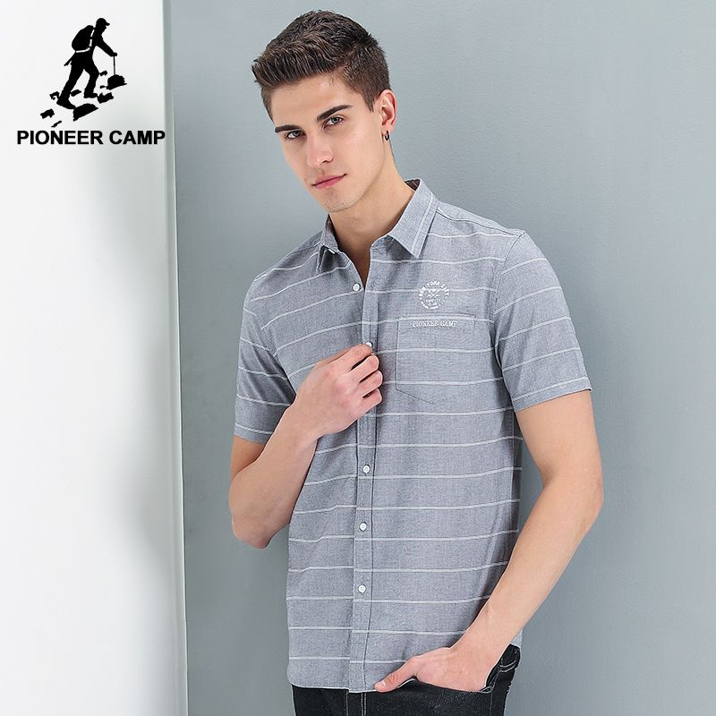 Pioneer Camp new style short shirt men brand clothing fashion striped shirt male top quality 100% cotton casual shirt ADC701121