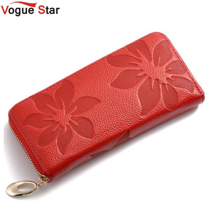 Vogue Star Genuine Leather Wallet Women Lady Long Wallets Women Purse Female 6 Colors Women Wallet Card Holder Day Clutch  LB225