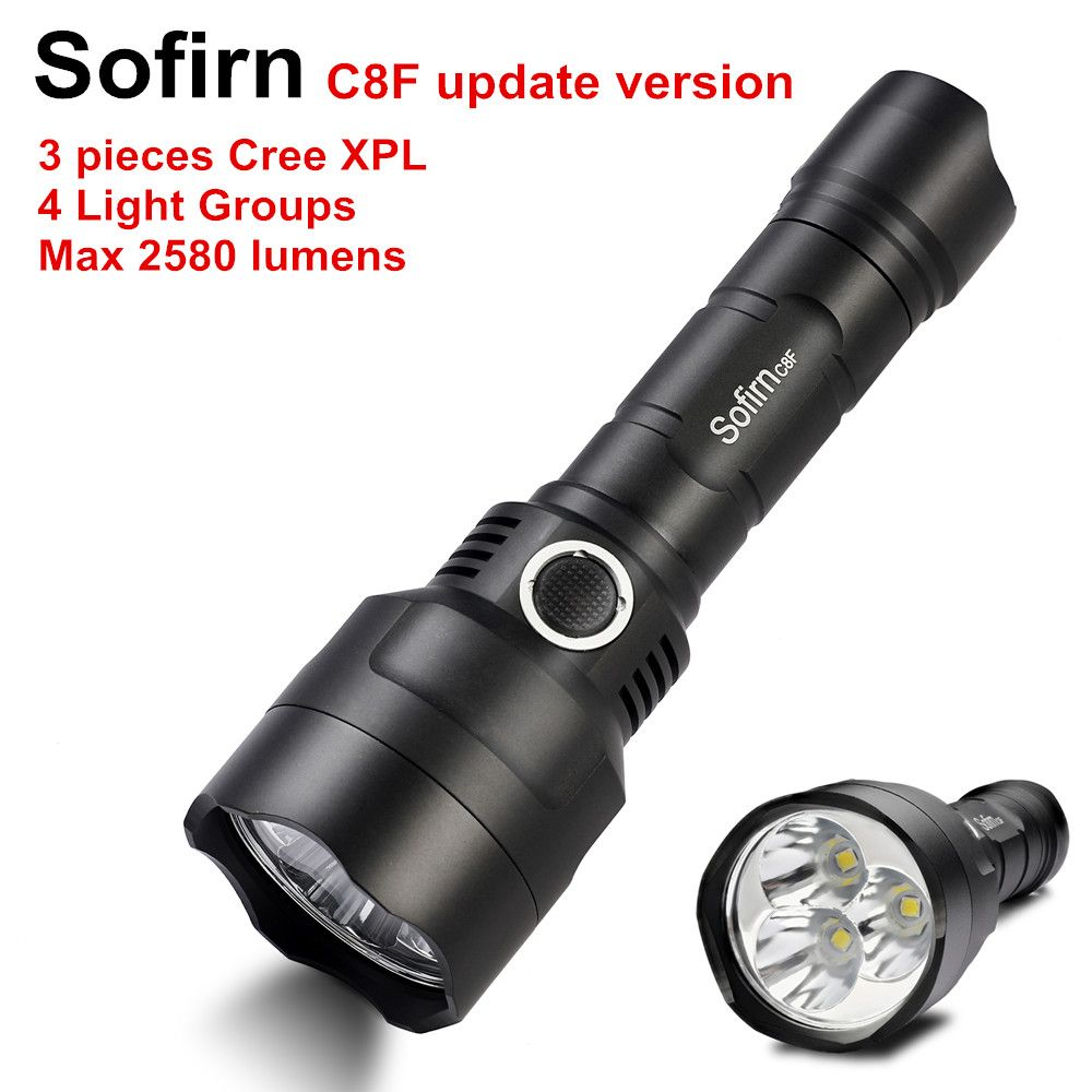 Sofirn C8F Triple Reflector Tactical LED Flashlight 18650 Powerful 2580lm Flash light Torch 3*Cree XPL Update Version 4 Groups