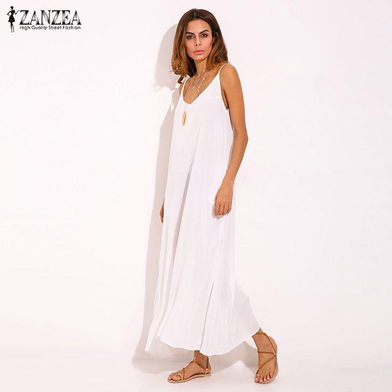 Vestidos 2019 été ZANZEA femmes bretelles Sexy col en V sans manches décontracté lâche longue Maxi solide robe blanc surdimensionné