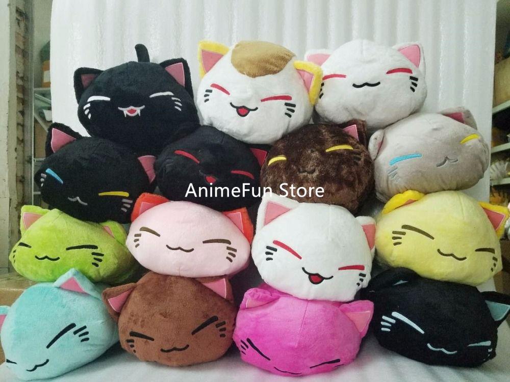 28 CM dessin animé Nemuneko Rose série dormir chat doux en peluche poupée jouets Kawaii Neko chat Animal oreiller livraison gratuite