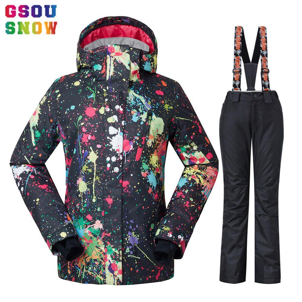 GSOU SCHNEE Wasserdichte Ski Anzug Frauen Ski Jacke Hosen Weibliche Winter Im Freien Skifahren Schnee Snowboard Jacke Hosen Snowboard Sets