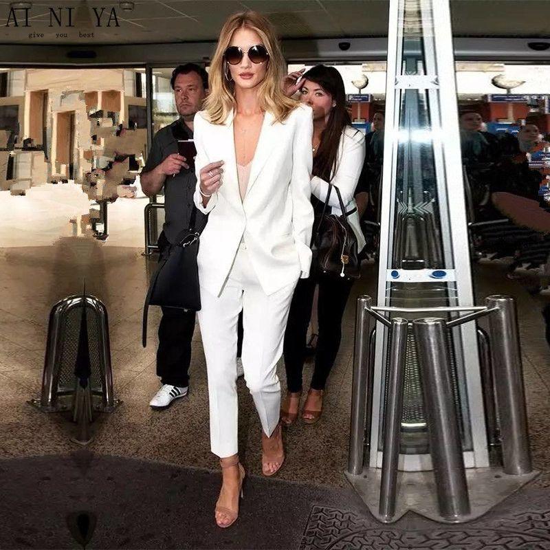 CUSTOM white trouser suit womens business suits ladies winter formal suits female office uniform work suits womens tuxedo