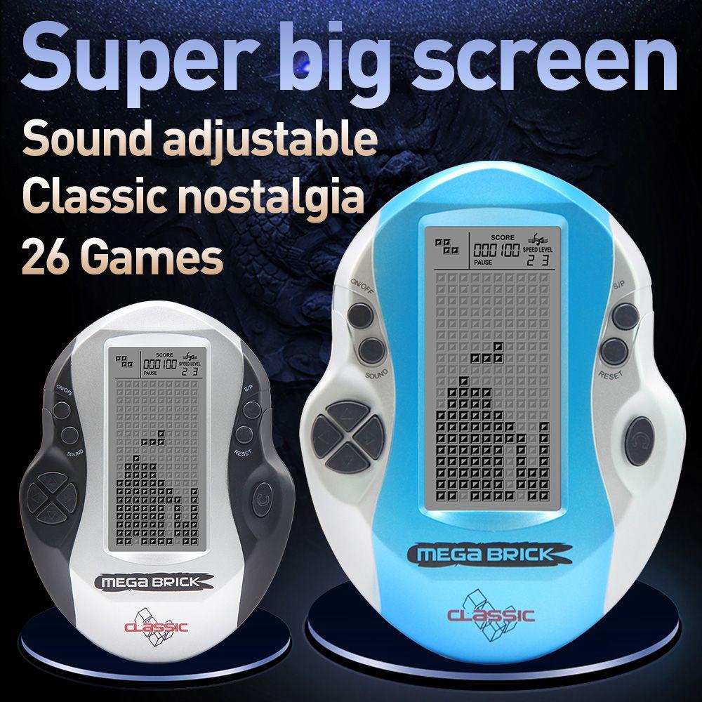 Console enfant grand écran Tetris Console de poche rétro Mega Tetris Console de jeu intégré 26 jeux jouets intellectuels classiques