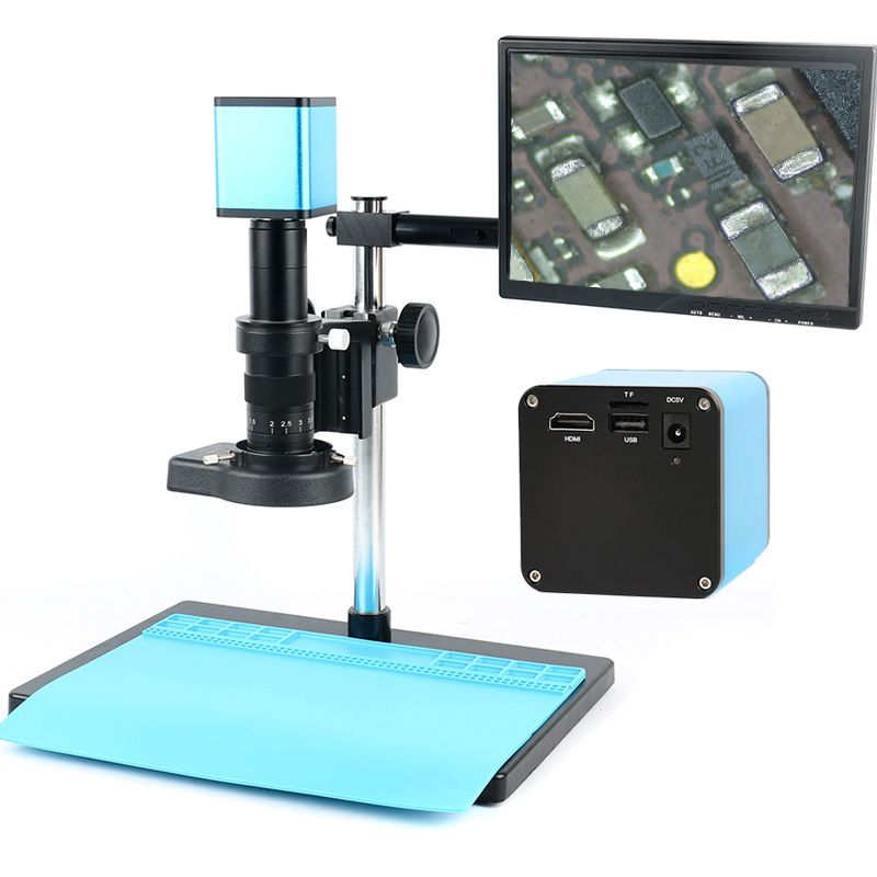 Autofocus SONY IMX290 HDMI TF Video Auto Focus Industry Microscope Camera + 180X C-Mount Lens+Stand+144 LED Ring Light+10.1