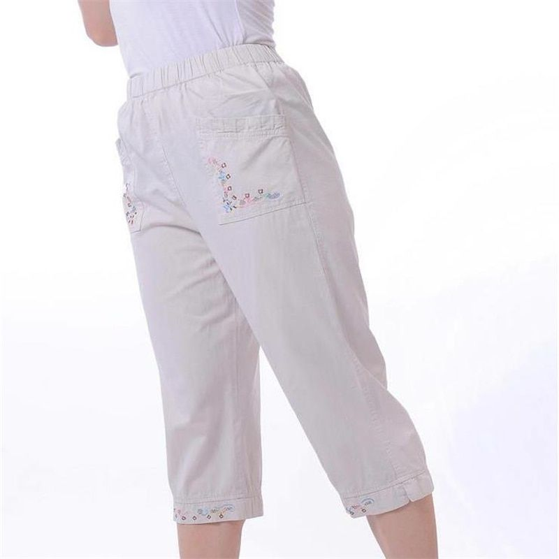 Lady Oversized Loose Capris Woman Spring Plus Size High 100% Cotton Calf-length Pants Female Summer Thin Breathable Trousers