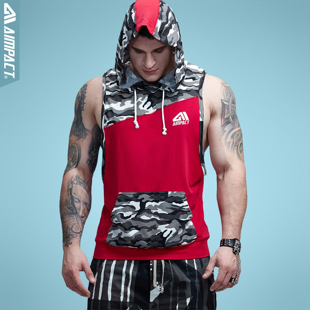 Aimpact Gymi Sleeveless Hoodies for Men Camo Cotton Crossfit <font><b>Fitness</b></font> Workout Tank Top Bodybuilding Weight Lift Muscle Shirts Man
