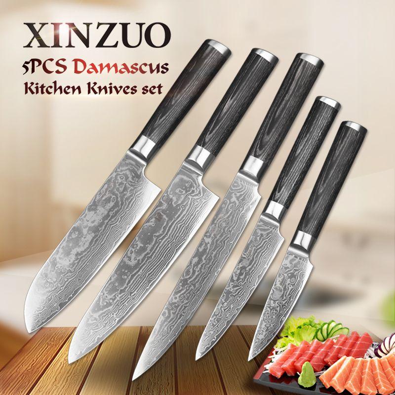 5 pcs kitchen knife set 67 layer Japanese VG10 Damascus steel kitchen knife cleaver meat chef utility knife Pakkawood handle
