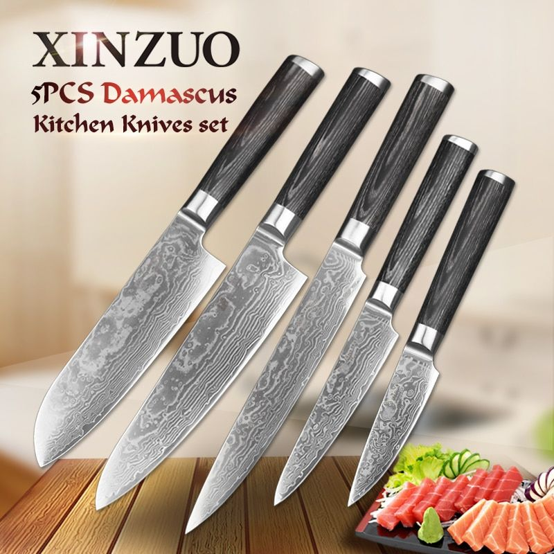XINZUO 5 PCS Kitchen Knife Set 67 Layer Japanese VG10 Damascus Steel Cleaver Meat Chef Utility Kitchen Knives Pakka Wood Handle