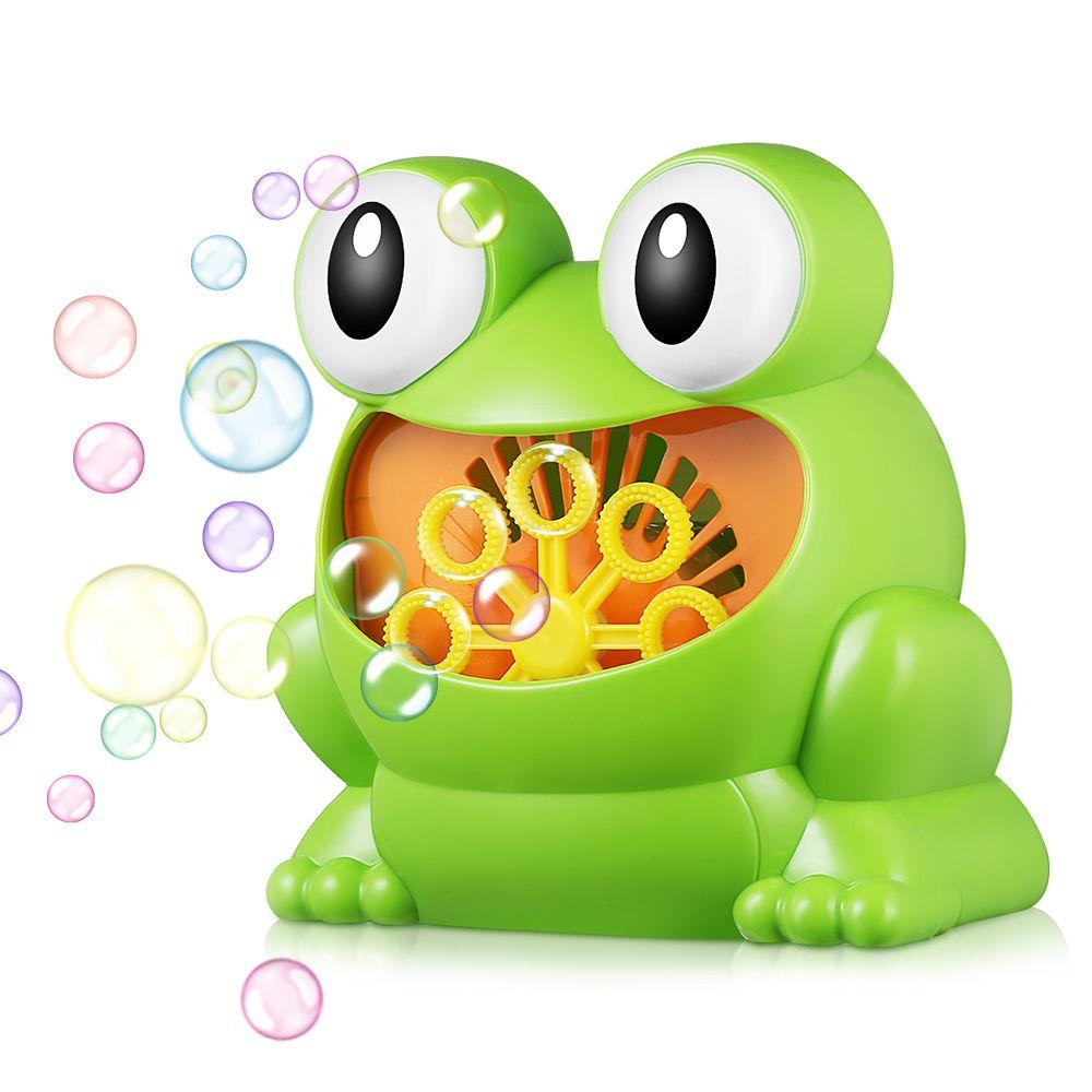 011 grenouille-forme complètement automatique Machine à bulles enfants jouet pour garçons filles bulles sûres et durables avec 8 baguettes de soufflage de bulles