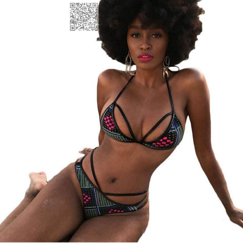 7 couleur Imprimé Africain Vintage Ensemble de Bikini Taille Haute Maillot de bain Deux Pièces Pour Femmes Sexy Dos Nu Maillot de bain Sexy Dames maillots de bain