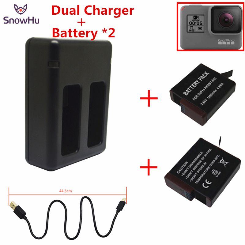 Snowhu para batería 2 unids 1220 mah para gopro gopro hero 5 5 batería + cargador de batería dual usb para gopro 5 GP508B
