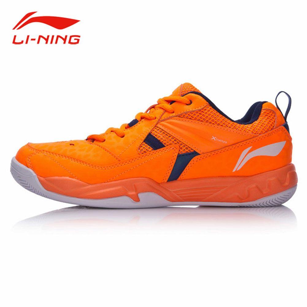 Li-Ning Men Anti-Slip Badminton Training Shoes Contrast Color Stylish Sneakers Li Ning Breathable Support Sports Shoes AYTM079