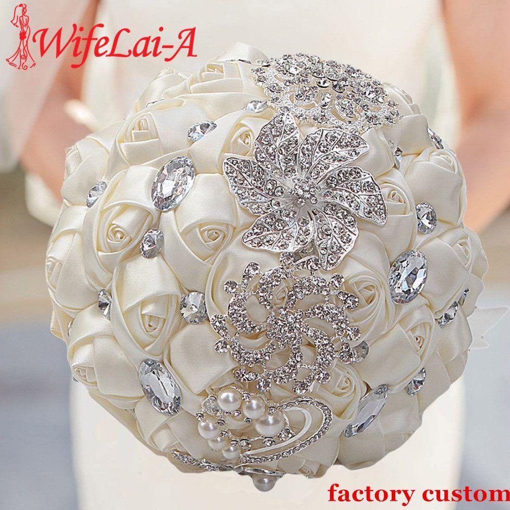 WIFELAI-A Bouquets de mariage artificiels fait à la main fleur strass demoiselle d'honneur cristal mariée mariage Bouquet de mariage W228