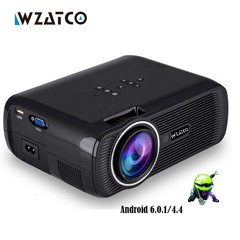 WZATCO CTL80 1800lu Portable Mini <font><b>full</b></font> HD 1080P TV LED 3D Projector Android 6.0 Wifi Smart Home Theater Beamer Proyector everyco