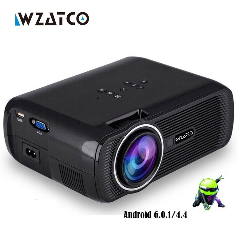 WZATCO CTL80 1800lu Portable Mini full HD 1080P TV LED 3D Projector Android 6.0 Wifi Smart Home Theater Beamer Proyector everyco