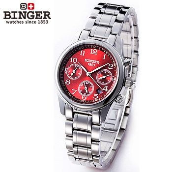 Binger Elegant Red Dial Automatic Watch Women Lady Quality Skeleton Style 316L Steel vintage Dress Wristwatches Multifunction