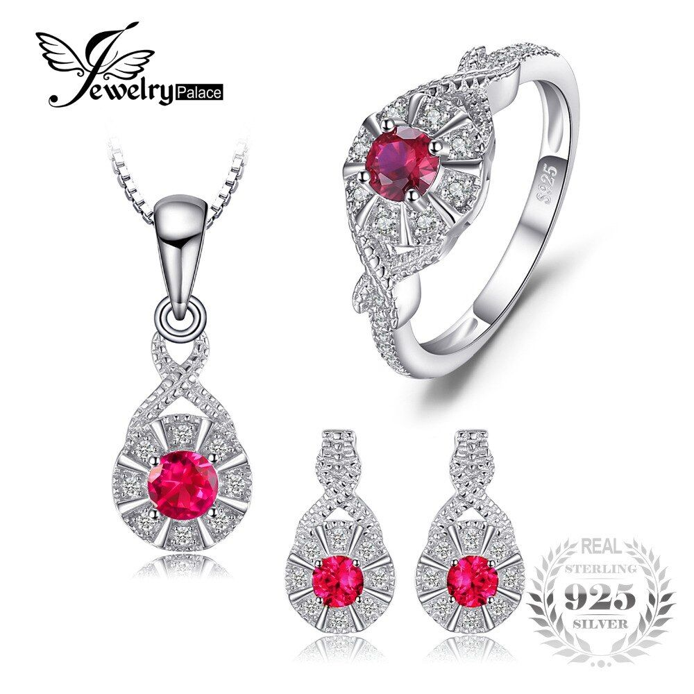 JewelryPalace Vintage 1.2ct Created Ruby Halo Ring Pendant Necklace Stud Earrings Jewelry Sets 925 Sterling Silver Chain 45cm