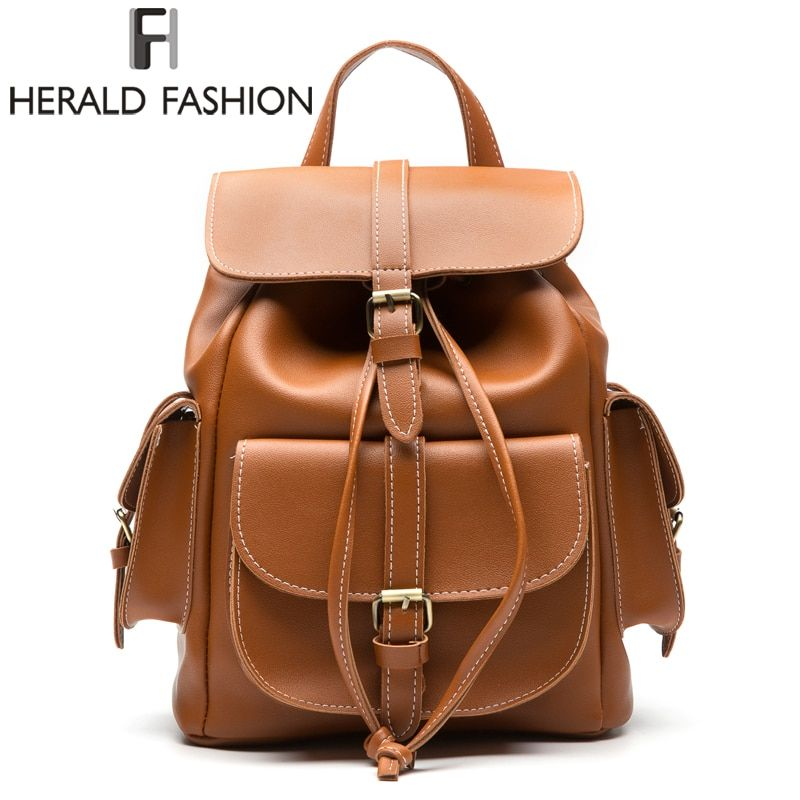 Herald Fashion Multi-Pocket Women Backpack High Quality PU Leather School Bags For Teenagers Girls Top-handle Travel Backpacks