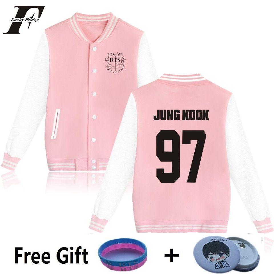 LUCKYFRIDAYF Women Kpop BTS Bangtan Boys Baseball Uniform Jungkook Jhope Jin Jimin V Suga Long Sleeve Jacket Casual Sweatshirt