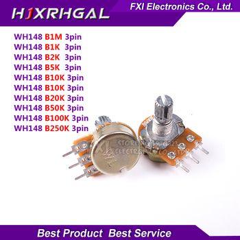 5 pcs WH148 B1K B2K B5K B10K B20K B50K B100K B500K 3Pin 15mm arbre Amplificateur Double Stéréo Potentiomètre 1 K 2 K 5 K 10 K 50 K 100 K 500 K