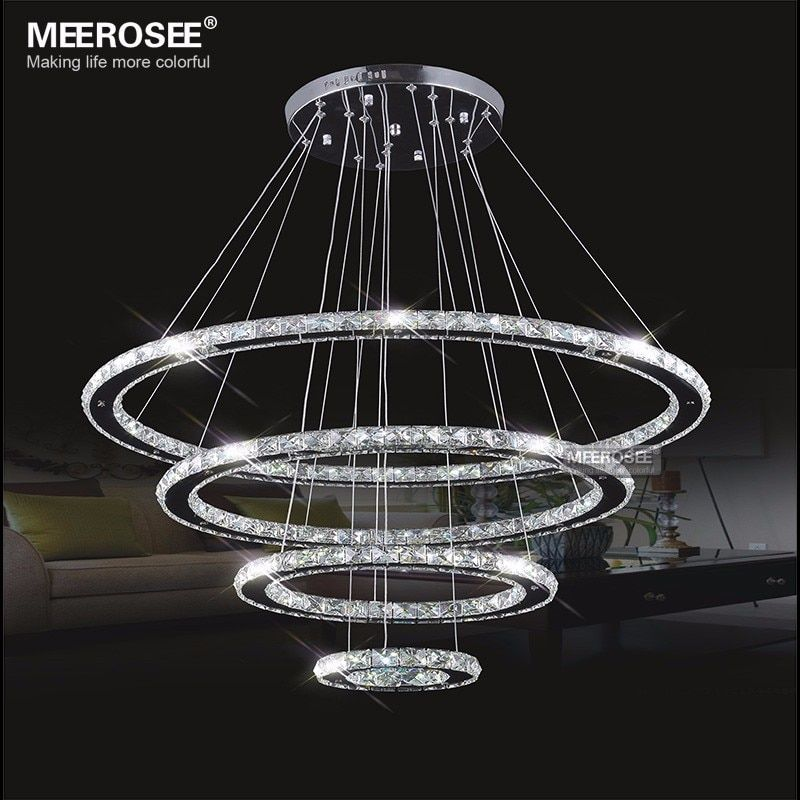 LED Chandeliers Modern Stainless Steel Crystal Light led Room Kroonluchter Hanging Lamps 4 Rings DIY Design Diamond Chandelier