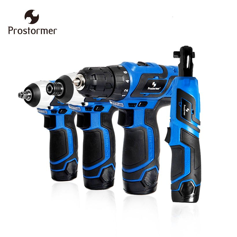 Prostormer 12V Series Electric Drill/Electric Screwdriver/Electric wrench/Ratchet wrench Cordless Drill Household Power Tools