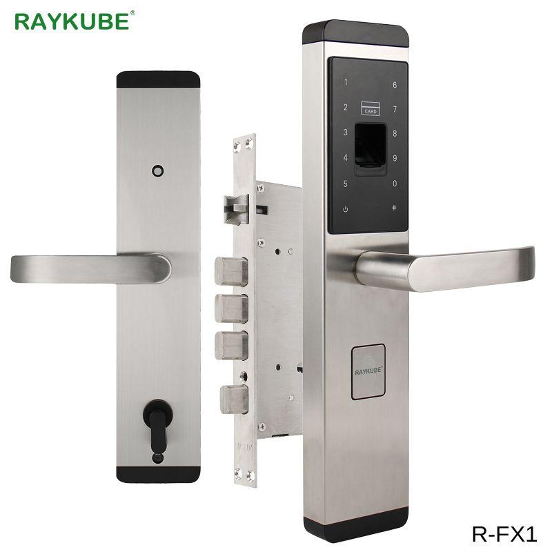RAYKUBE Fingerprint Lock Für Hause Anti-diebstahl Türschloss Keyless Smart Lock Mit Digital Passwort RFID Entsperrt R-FX1