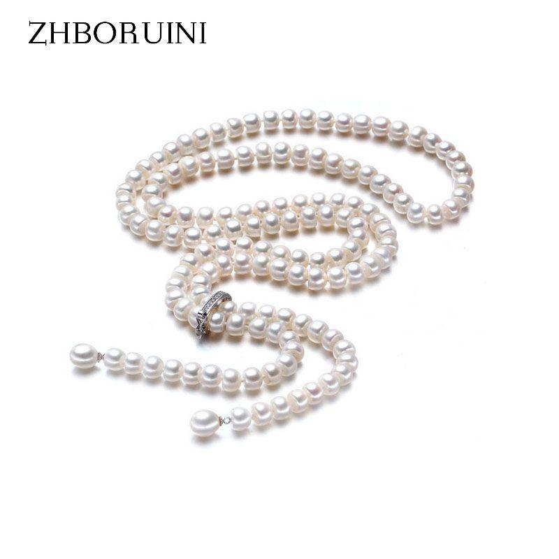 ZHBORUINI Mode Longue Perle Collier Naturel D'eau Douce Perle 925 Bijoux En Argent Sterling Pour Les Femmes Déclaration Collier Cadeau