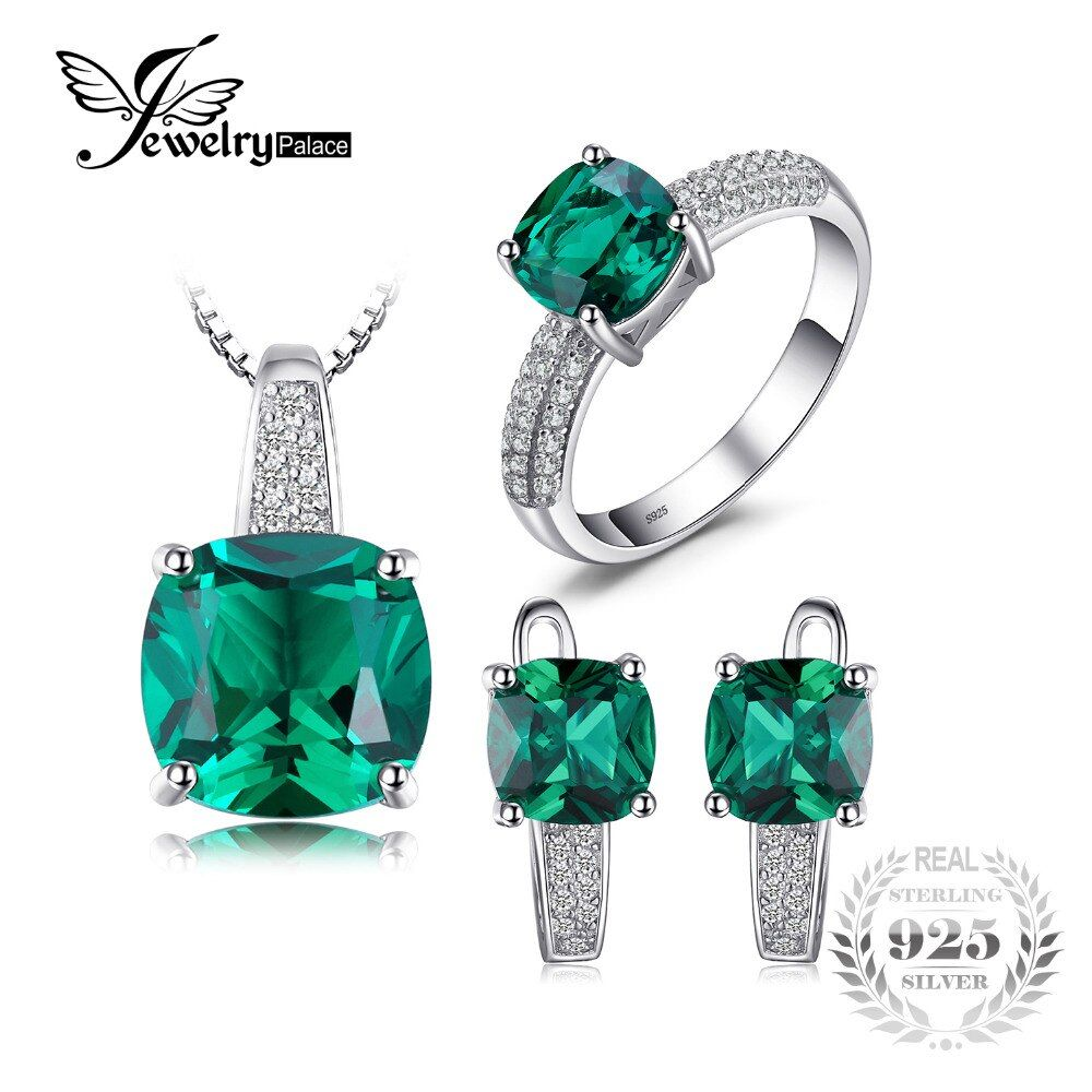 JewelryPalace 8.7ct Emerald Ring Pendant Clip Earrings Jewelry Set 925 Sterling Silver Fine Jewelry 45cm Box Chain