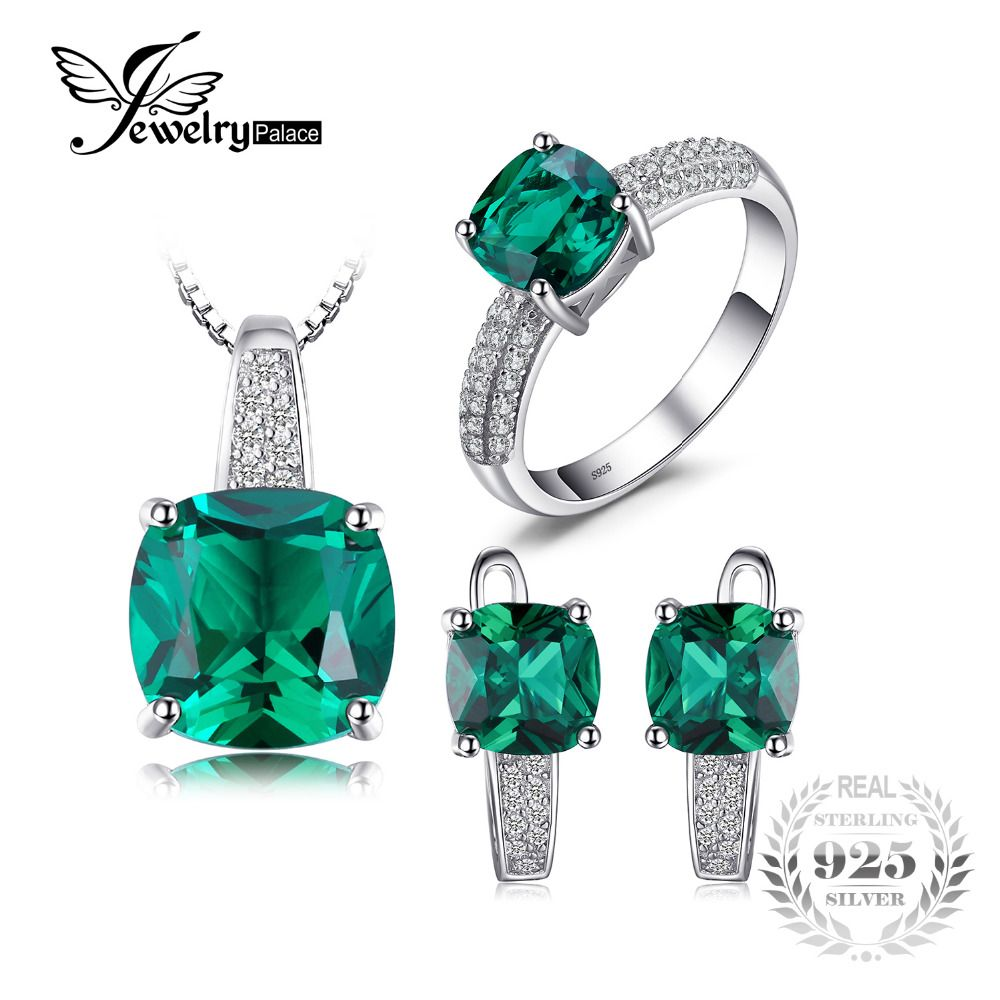 JewelryPalace 8.7ct Emerald Ring <font><b>Pendant</b></font> Clip Earrings Jewelry Set 925 Sterling Silver Fine Jewelry 45cm Box Chain