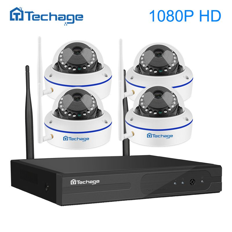 Techage 4CH 1080P Full HD Wireless NVR Wifi CCTV System 2.0MP Indoor Outdoor Dome IP Camera Video Home Security Surveillance Kit