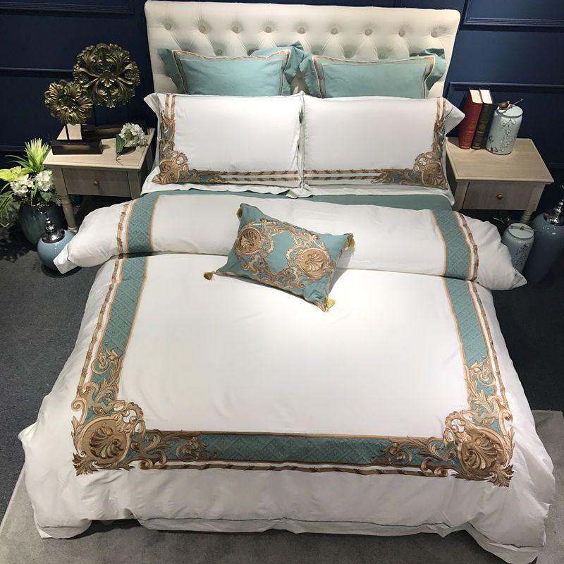 Orientalischen Bestickt Luxus Ägyptischer Baumwolle Weiß Royal Bettwäsche set Königin König größe Hotel Bettwäsche sets Duvet abdeckung bettlaken set