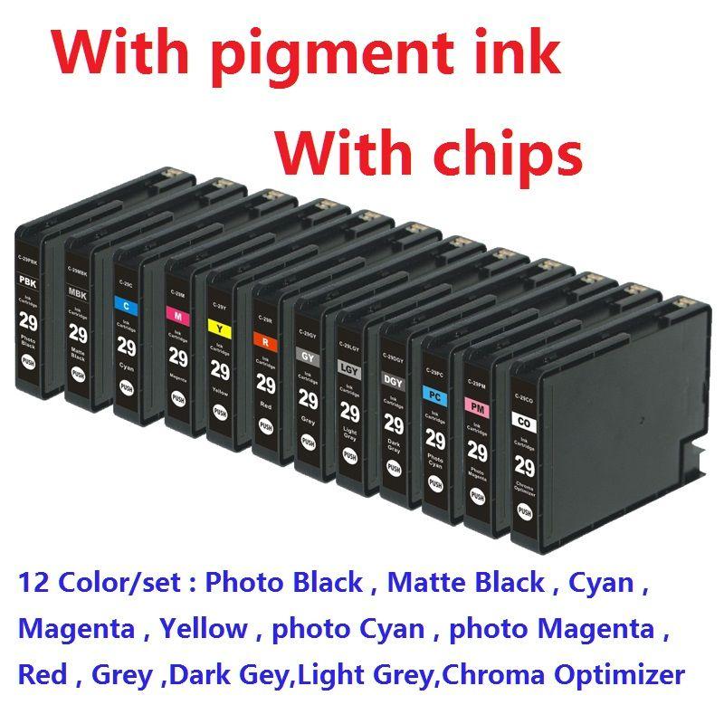 XIMO 12 teile/satz PGI-29 PGI29 PGI 29 kompatible tintenpatrone für canon PIXMA PRO-1 Drucker, mit chip, pigment tinte