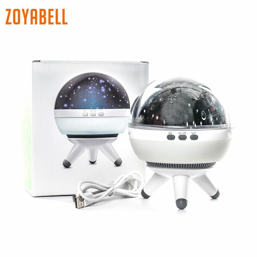 zoyabell Rotating Night Light Star Projector Baby Kids Sleep Romantic Led Spin Starry Sky Star Master Battery USB Lamp Lighting