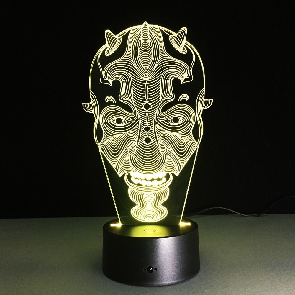 Star Wars dark Maul Face 3D lumière LED lampe de Table décorative USB LED lampe d'éclairage 3D créative veilleuses visuelles cadeau de noël