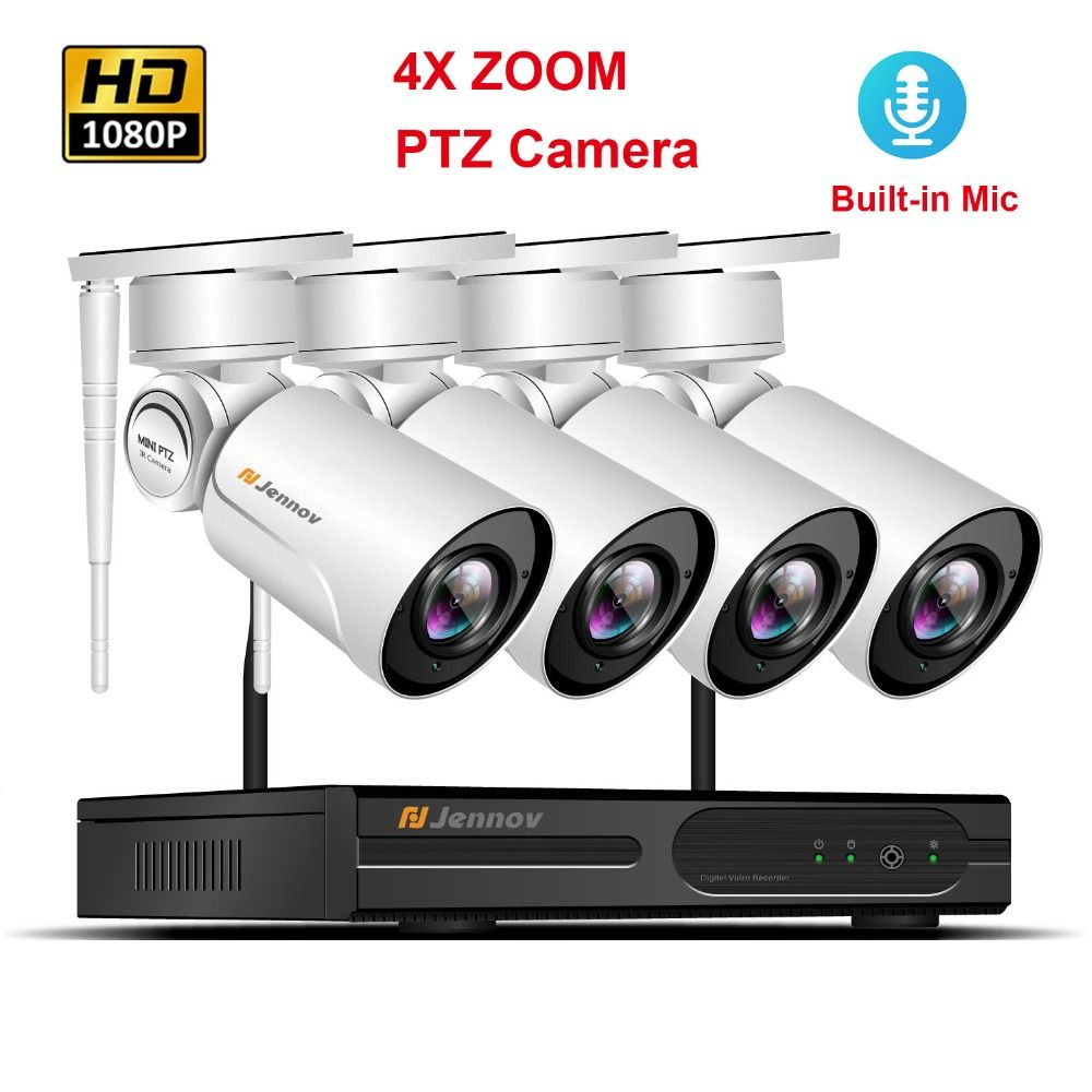 4CH 1080P PTZ Wifi CCTV Security Camera System Wireless NVR Kit 2.0MP 4XZoom 2.8mm-12mm Audio Record Video Surveillance System