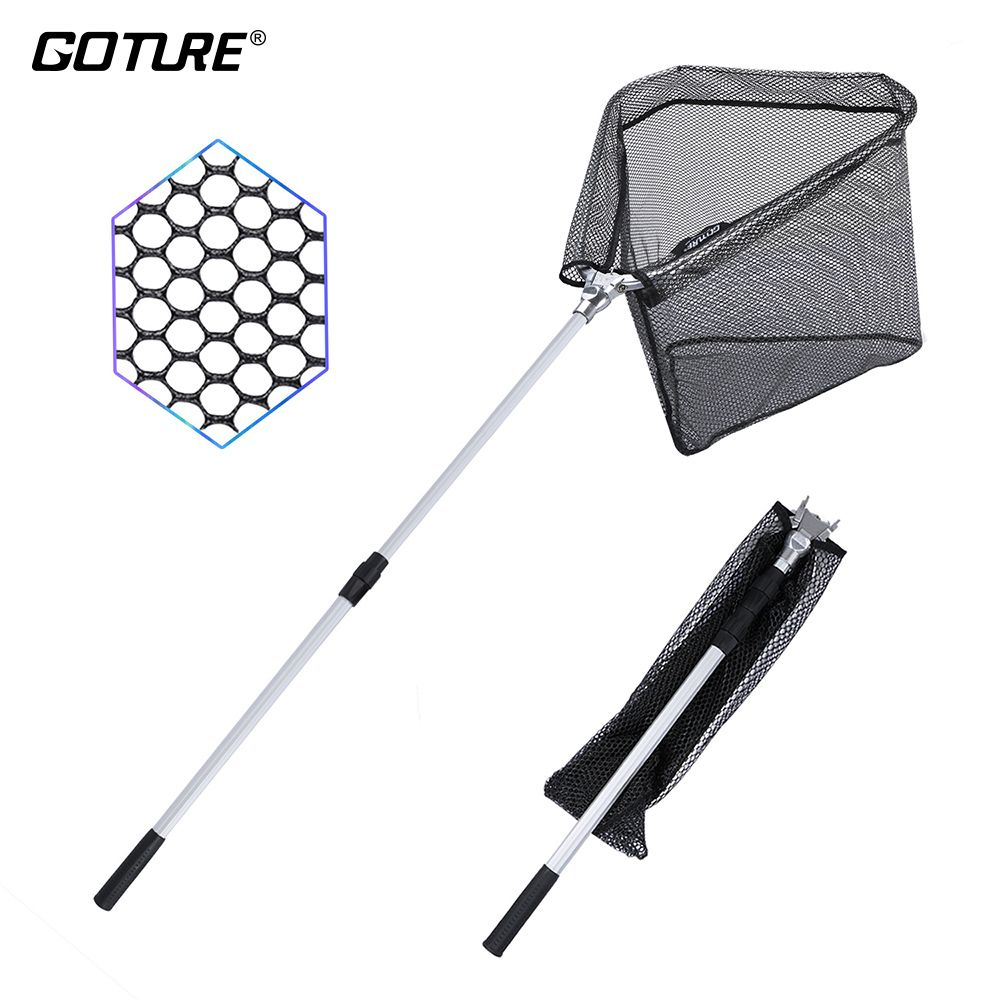 Goture Folding <font><b>Fishing</b></font> Landing Net Fish Net Cast Carp Rubber Coated Net Network with Extending Telescoping Pole Handle