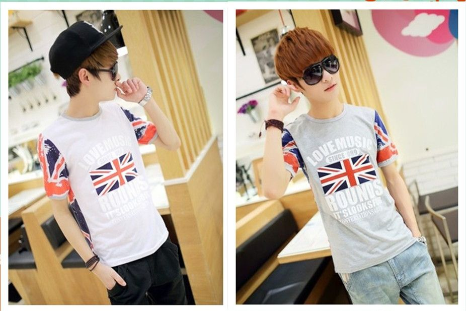 Short-sleeve T-shirt british style inkjet torx flag male slim 100% cotton t shirt t-shirt