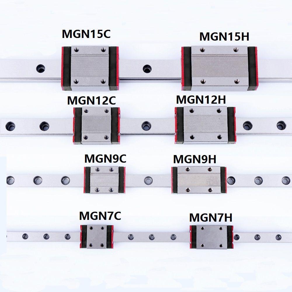 1 pièces de guidage Linéaire Mini MGN7 MGN9 MGN12 MGN15 Bloc MR7 MR9 MR12 MR15 + 1 pièces Type Long ou Standard Transport 3d imprimante partie