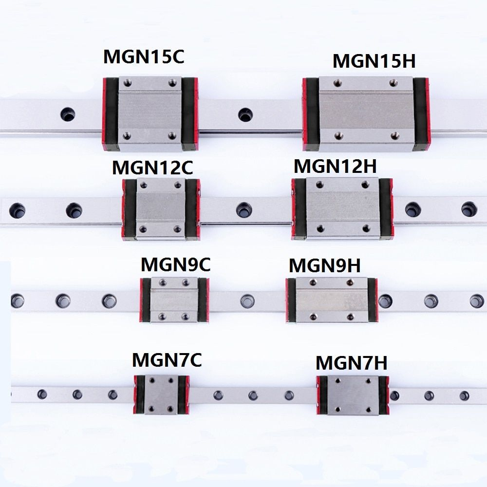 1PCS Linear rail guide Mini MGN7 MGN9 MGN12 MGN15 Block MR7 MR9 MR12 MR15 + 1PCS Long Type or Standard Carriage 3d printer part