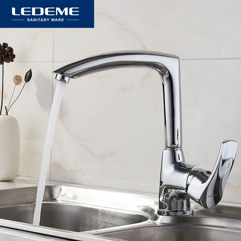 LEDEME New Kitchen Faucet Seven Letter Design 360 Degree Rotation with Water Purification Features Single Handle L4064