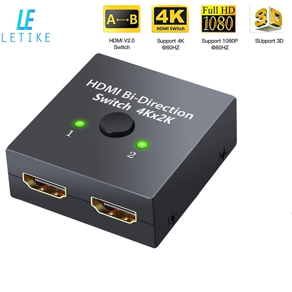 Letike HDMI Switch 4K HDMI Splitter Bi-Directional Manual Switch 1 In 2 Out or 2 Input 1 Output 3D HD 1080P for HDTV PC etc