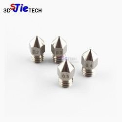 MK8 M6 Threaded Stainless steel / Brass Nozzle 1.75mm 0.2/0.3/0.4/0.5mm For creality cr-10 ender 3 Anet A8 3D Printer J-head