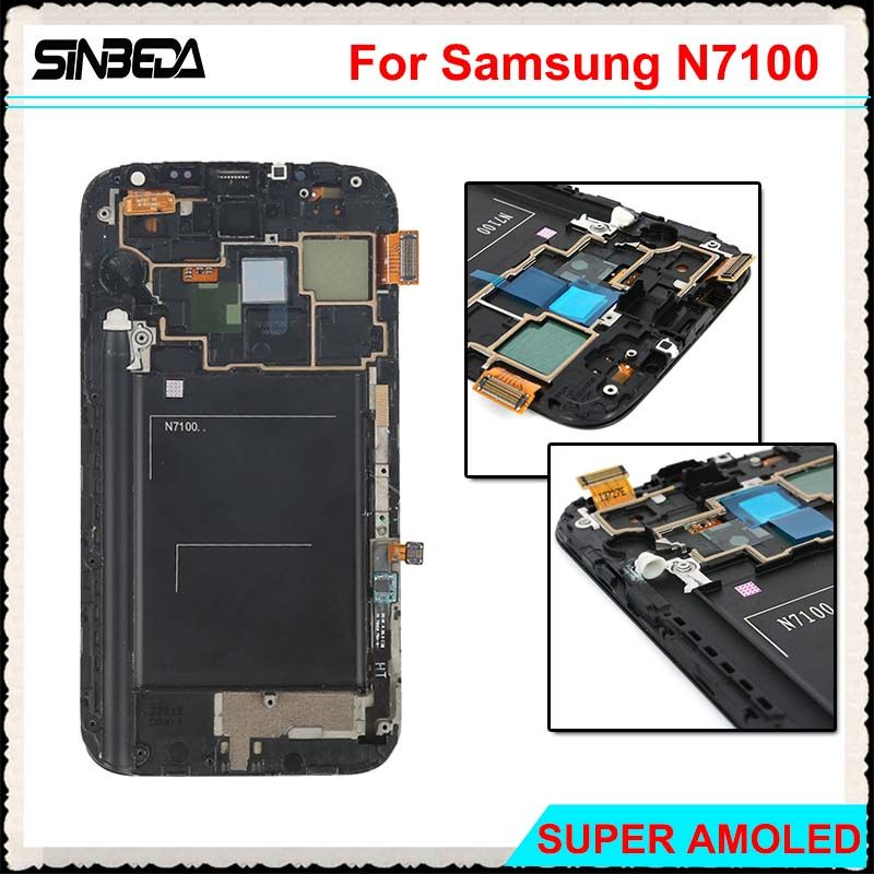 Sinbeda Super Amoled LCD Screen For Samsung Galaxy Note 2 N7100 LCD Display Touch Screen Digitizer Assembly + Frame Grey White
