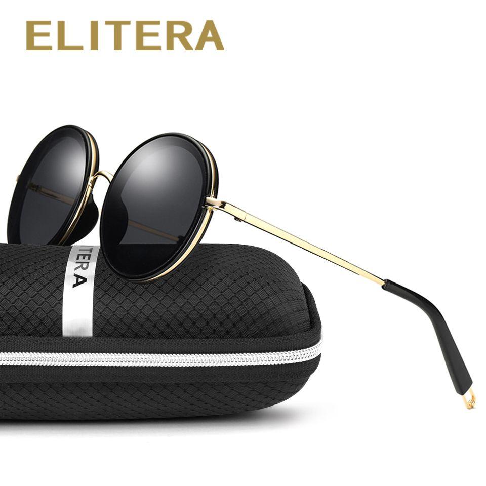ELITERA lunettes de Soleil pour Femmes lunettes de Soleil Rondes Conduite De Luxe Marque Revêtement miroir Lunettes de Soleil Femmes femelle Lunettes