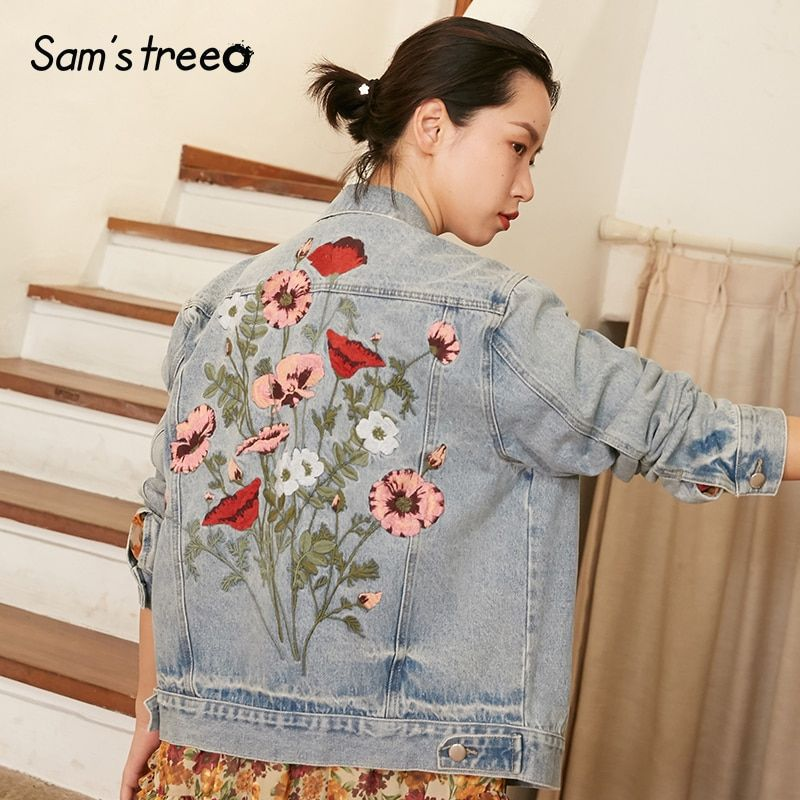 Samstree 2018 New Vintage Female Denim Coat Back Flower Embroidery Autumn Short Coat Casual Denim Jacket Outwear
