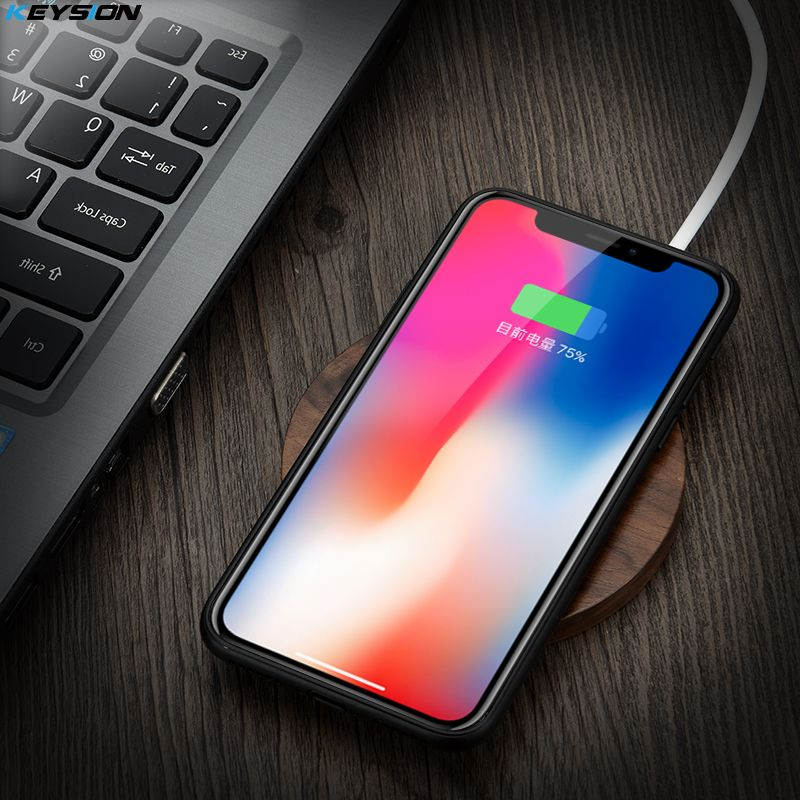 KEYSION Qi Wireless Charger 10W Wood fast Charging Pad for Samsung S9+ S8 S7 Note 9 8 for iPhone XS Max XR X 8 for Xiaomi MIX 2S