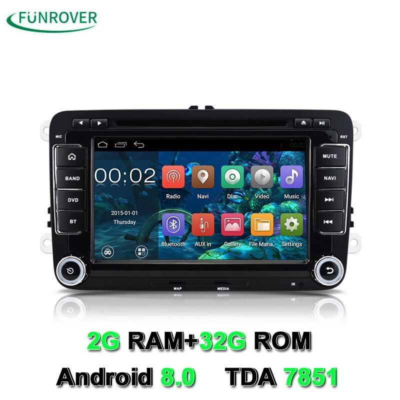 Funrover 2din 7 Car DVD player VW JETTA rns510/PASSAT B6/GOLF 5/6 CC POLO Tiguan Touran Caddy SEAT com Wifi GPS CANBUS Controle